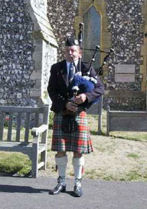 Scottish Bagpiper Sussex Logo